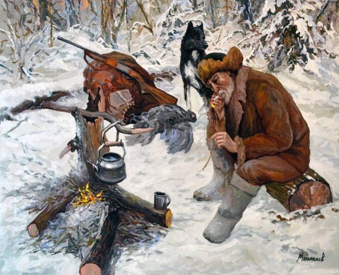 охотник у костра