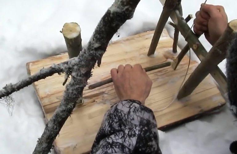 охота на зайца петлями зимой
